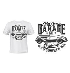retro car garage station t-shirt print vector image