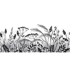 Seamless border with wild plants silhouette vector