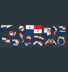 Set national flag panama in vector