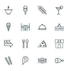 Set of 16 eating icons includes dining room vector