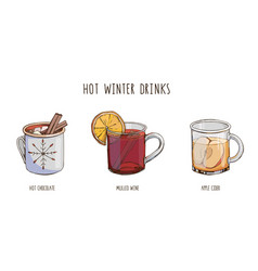 Set popular hot winter drinks isolated on white vector