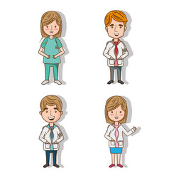 set professional doctors with stethoscope and vector image
