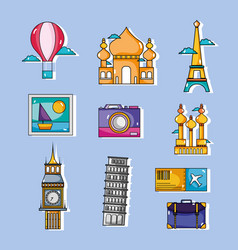 set travel vacation countries to visity vector image