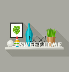 Shelf with home decor vase picture and plant vector
