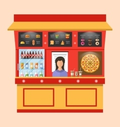 Showcase Shop of Fast Food with Seller vector