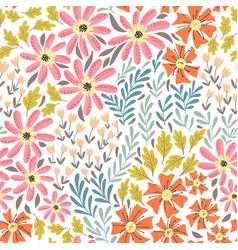 simple wild flowers pattern vector image
