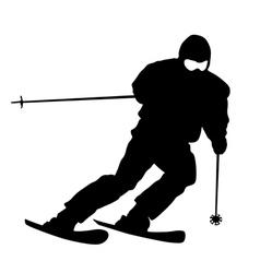 Skier speeding down slope sport silhouette vector