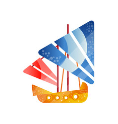 small retro sailing ship with colored sails flat vector image