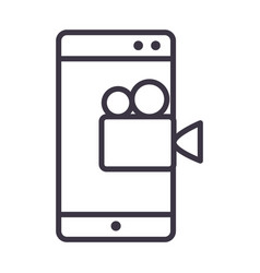 smartphone film video device technology thin line vector image