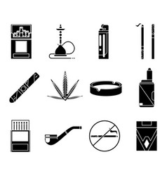 smoking silhouette icons set cigarette pipe vape vector image