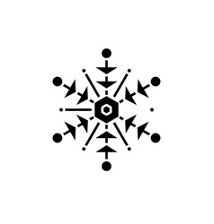 snowflake black icon sign on isolated vector image