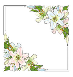 square frame decorated with hand-drawn lilies vector image