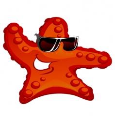 starfish in sunglass vector image