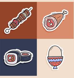 sushi kebab egg meat sticker set hand drawn vector image