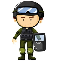 SWAT man in green safety suit vector