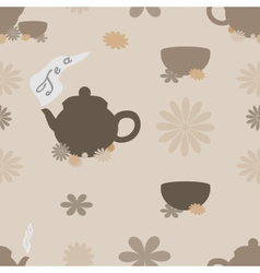 Tea seamless pattern of brown tint vector