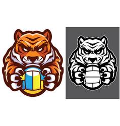 tiger volleyball mascot vector image