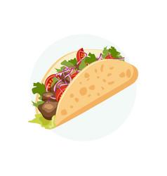 traditional mexican food - taco cartoon banner vector image