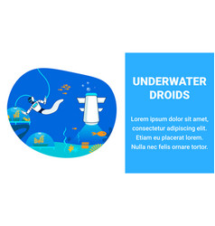 Undersea ai droids flat banner template vector