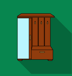 Vestibule wardrobe icon in flat style isolated on vector