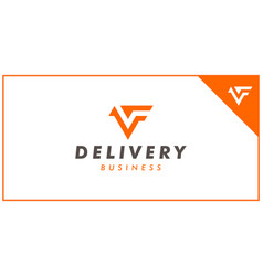 vf or fv logo design template vector image