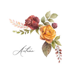 Watercolor autumn wreath with rose and vector