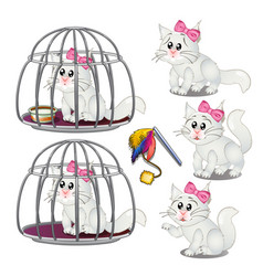white fluffy cat was lured into a cage vector image