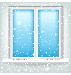 Window and snow vector