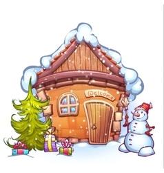 Winter cartoon home with vector