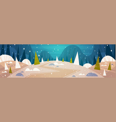 winter forest landscape moon shining over snowy vector image