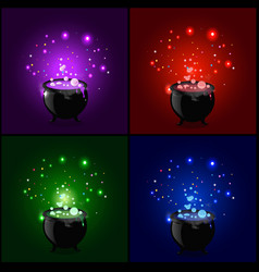 Witch cauldron with boiling sparkling potion set vector