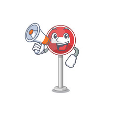 With megaphone no entry mascot shaped on cartoon vector