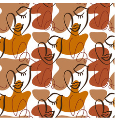 woman faces seamless pattern modern abstract faces vector image