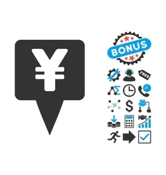 Yen Map Pointer Flat Icon with Bonus vector