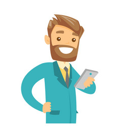 Young businessman looking at mobile phone vector