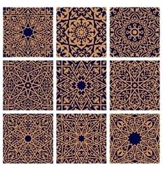 Arabic seamless floral pattern set for tile design vector image