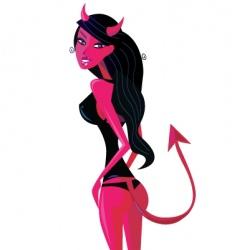 cartoon retro devil pinup girl vector image vector image