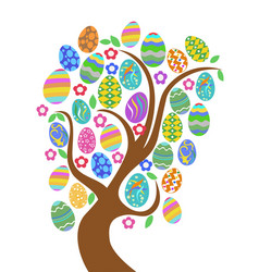 colorful easter eggs tree vector image vector image