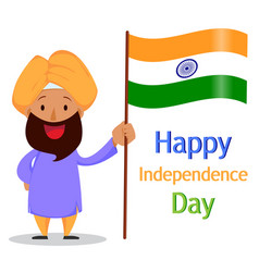 indian bearded man in a turban holding national vector image vector image