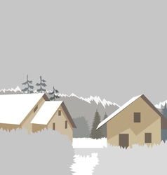 Mountain village winter ski resort vector image vector image
