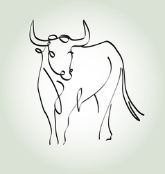 Bull in a minimal line style vector image vector image