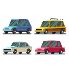 cool cartoon sports and travel cars set vector image