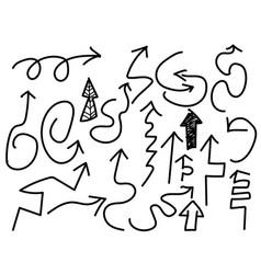 doodle black arrows set vector image vector image