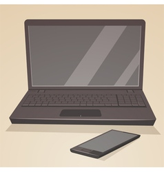 Laptop and smartphone vector image
