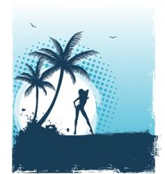 tropic girl grunge back vector image vector image