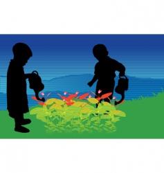 two children vector image vector image