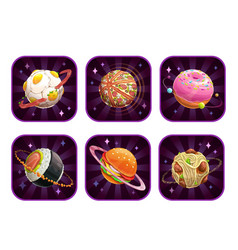 app icons with food planets vector image vector image
