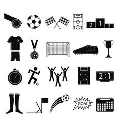 cartoon silhouette black football or soccer game vector image vector image