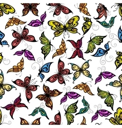 Colorful seamless flying butterflies pattern vector image