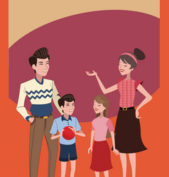family vintage background vector image